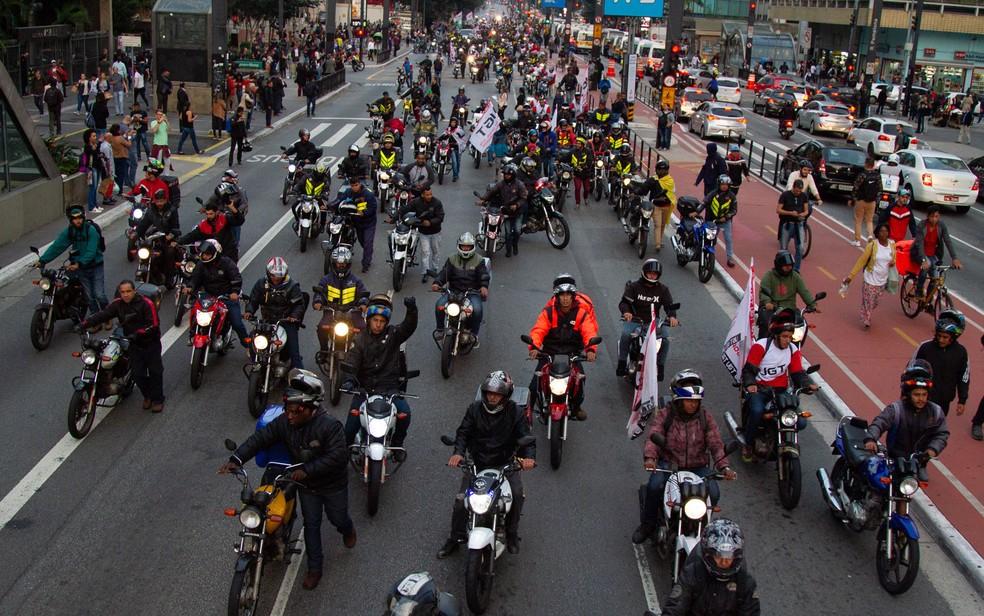 Motofretistas protestam na Avenida Paulista — Foto: KEVIN DAVID / A7 PRESS / ESTADÃO CONTEÚDO