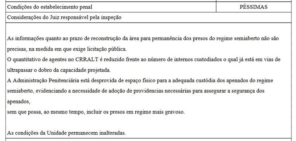 Trecho de relatório do CNJ sobre presídio onde houve rebelião em Altamira — Foto: Reprodução/G1