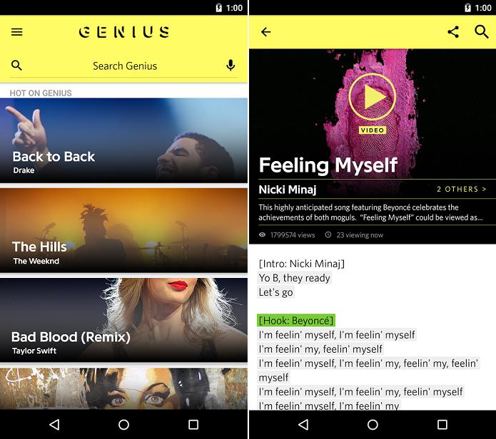 Aplicativo com letras e significados está disponível no Google Play (Foto: Divulgação/Genius)