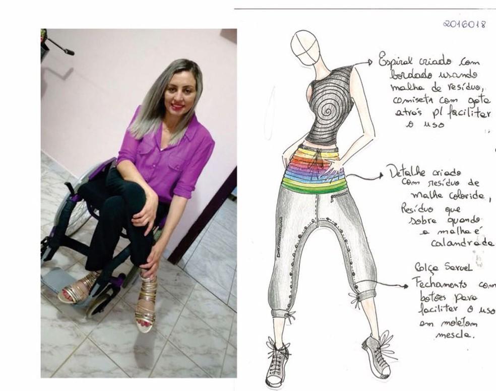 Roupa feita especialmente para cadeirantes. Aluna do Senai criou a peça (Foto: Senai/Divulgação)