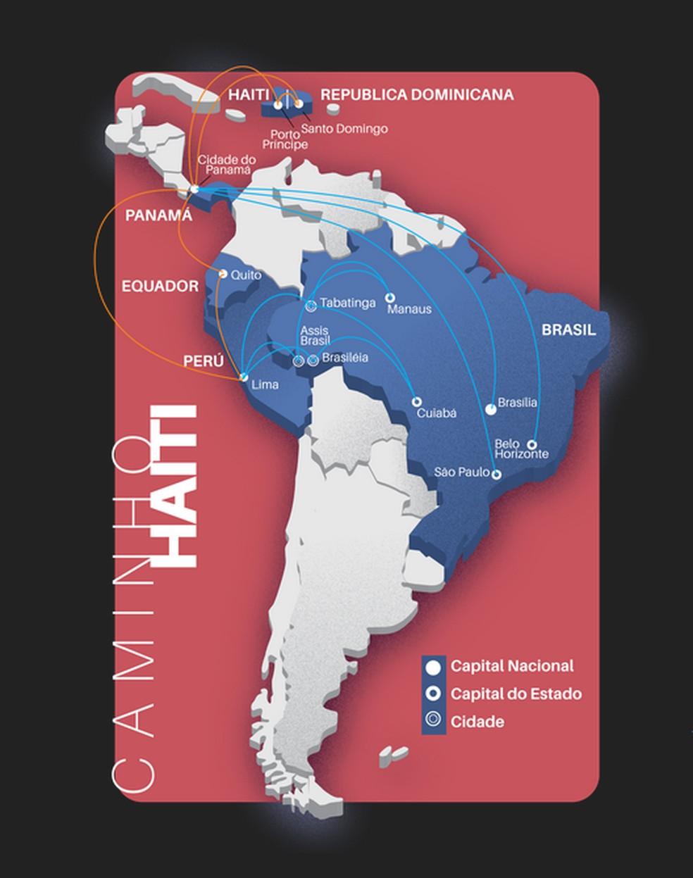 Mapa do processo de imigração dos haitianos (Foto: TRT-MT)