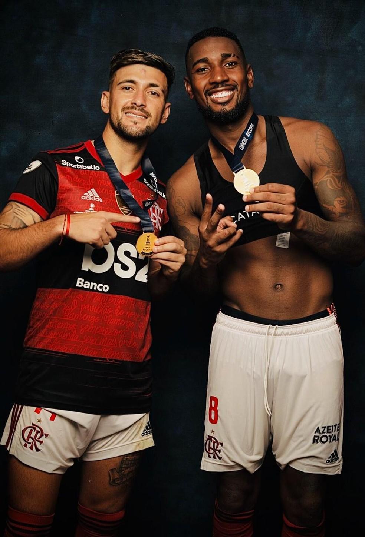 Arrascaeta e Gerson Flamengo — Foto: Divulgação Conmebol