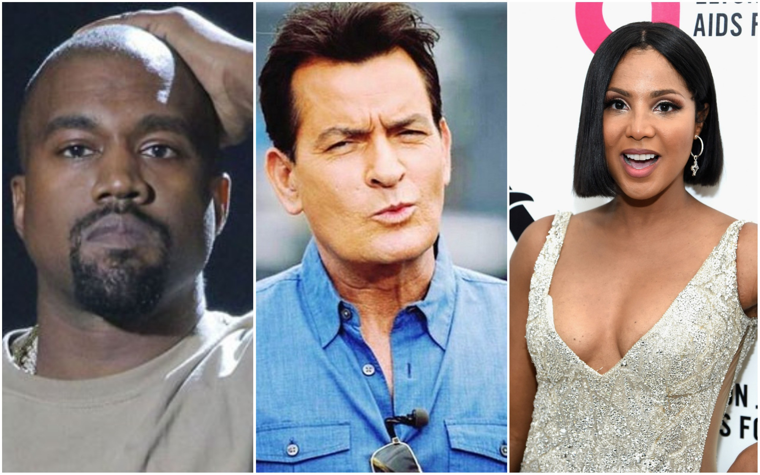 Kanye West, Charlie Sheen, Toni Braxton (Foto: Getty Images e Redes Sociais)