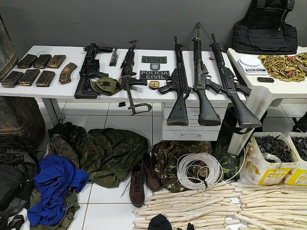 Polícia Civil e Militar prende suspeitos de integrar quadrilha especializada em assaltos a instituições financeiras no Maranhão. — Foto: Divulgação/Polícia Civil
