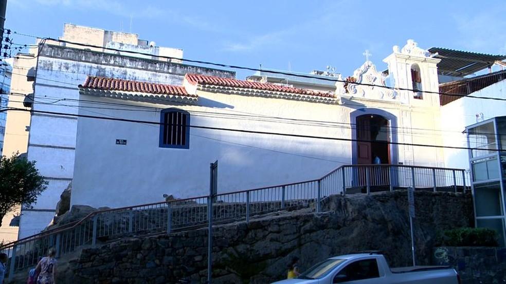 Capela de Santa Luzia, no Centro de Vitória — Foto: Reprodução/TV Gazeta