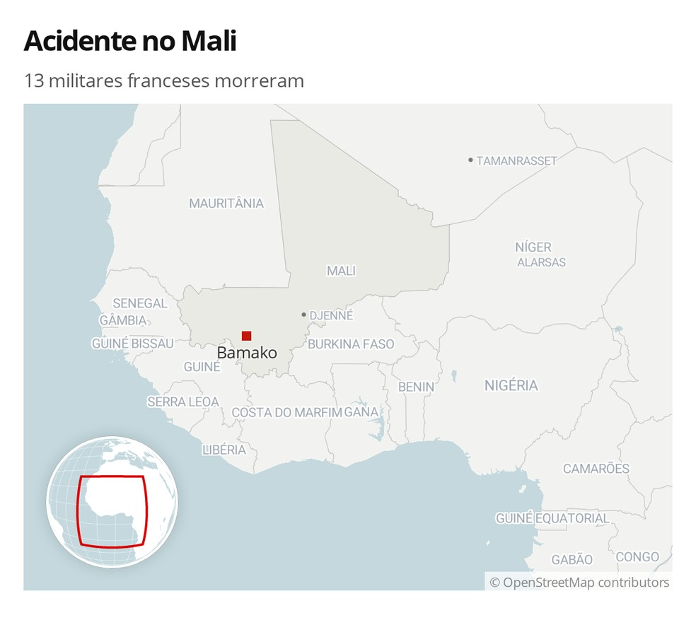 13 militares franceses morreram em acidente no Mali na noite de segunda-feira (25). — Foto: G1