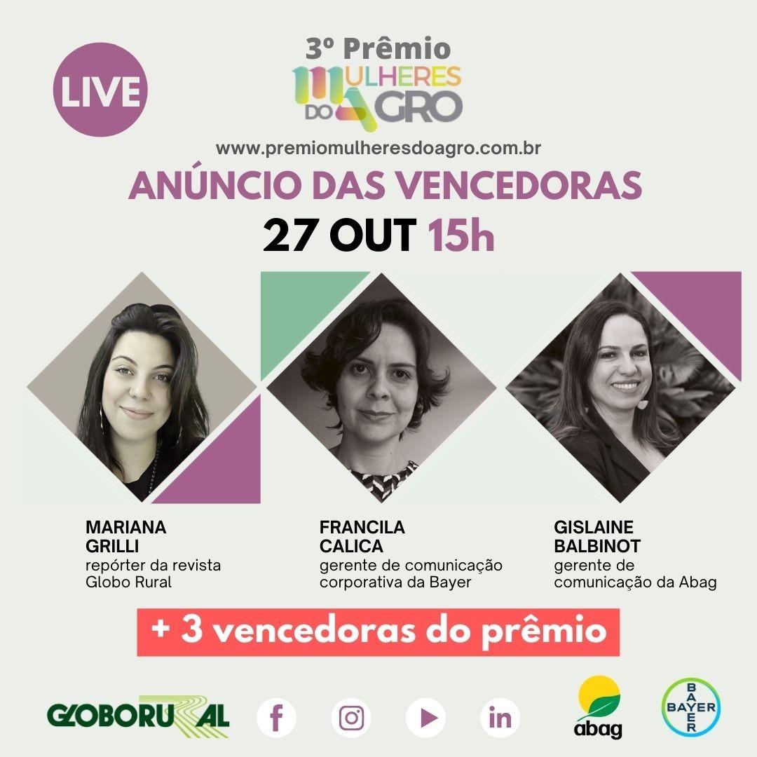 Três premiadas se reunirão em live da Globo Rural para discutirem suas trajetórias e ações de sustentabilidade (Foto:  )