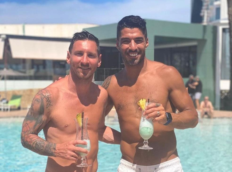 Melhores amigos, Messi e Luis Suárez costumam passar férias juntos — Foto: Reprodução/Instagram