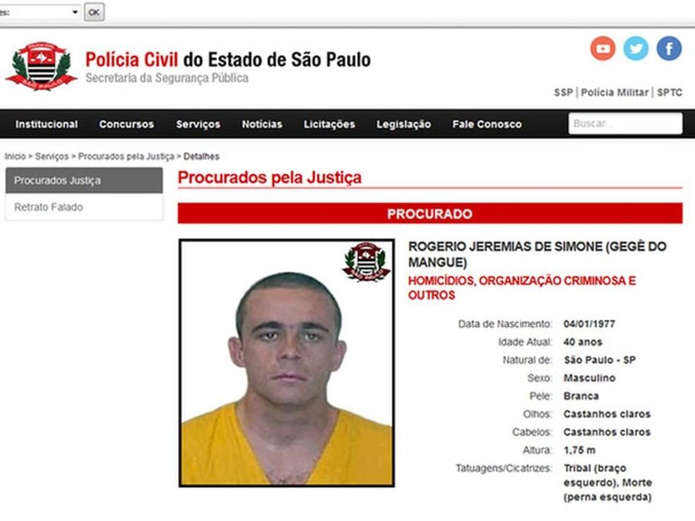 Gegê do Mangue foi um dos mais procurados no site da Polícia Civil de São Paulo — Foto: Reprodução/Polícia Civil de São Paulo