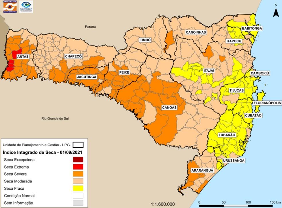 Índice Integrado de Seca em Santa Catarina — Foto: Defesa Civil/Divulgação