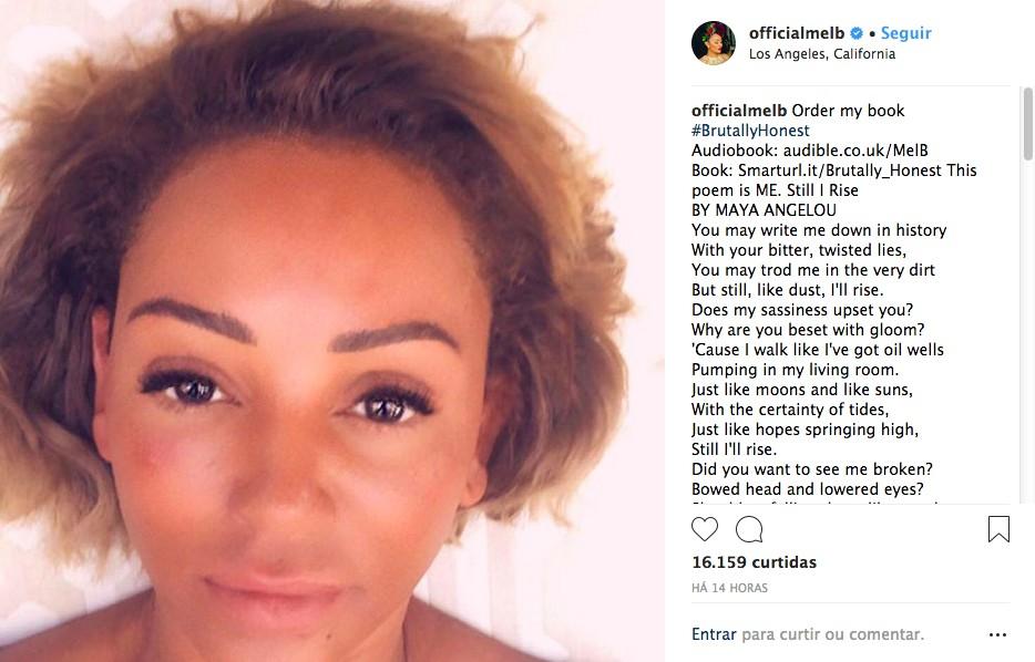 A selfie compartilhada por Mel B com o poema de Maya Angelou (Foto: Instagram)