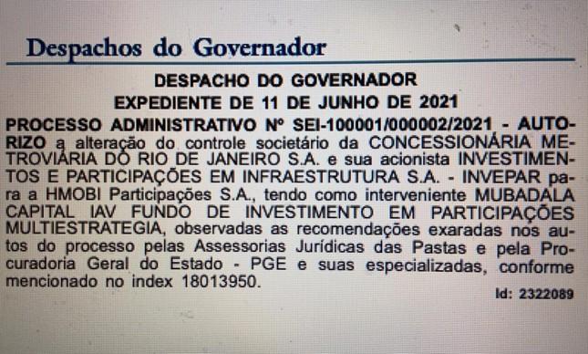O governador  Claudio Castro autoriza que o fundo  Mubadala   assuma o metrô do Rio lugar da Invepar