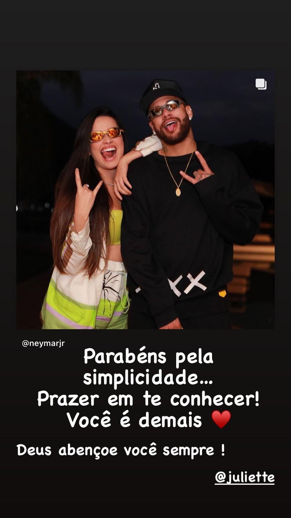 Juliette e Neymar: amizade tá on — Foto: Reprodução/Instagram