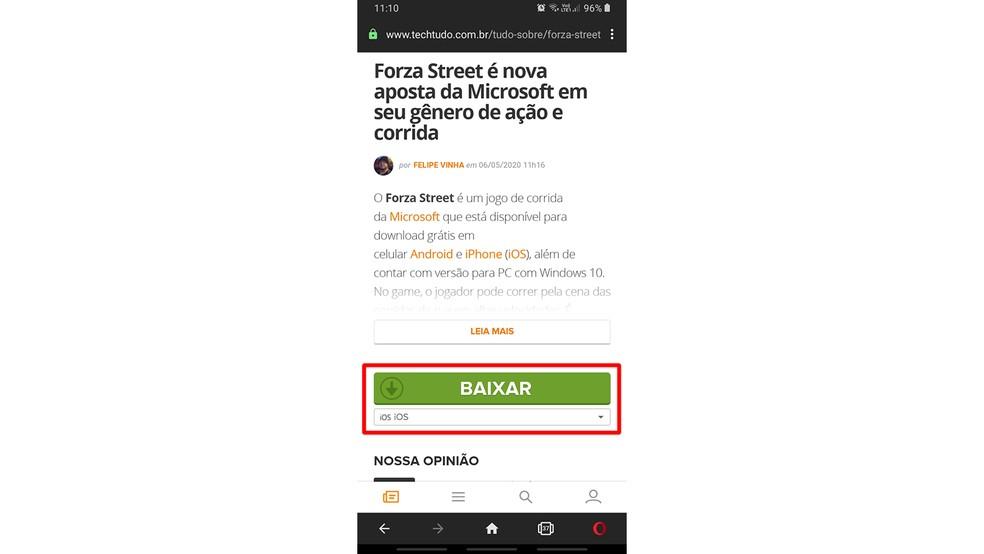 """Escolha o sistema operacional antes de clicar em """"Baixar"""" — Foto: Reprodução/Filipe Garrett"""