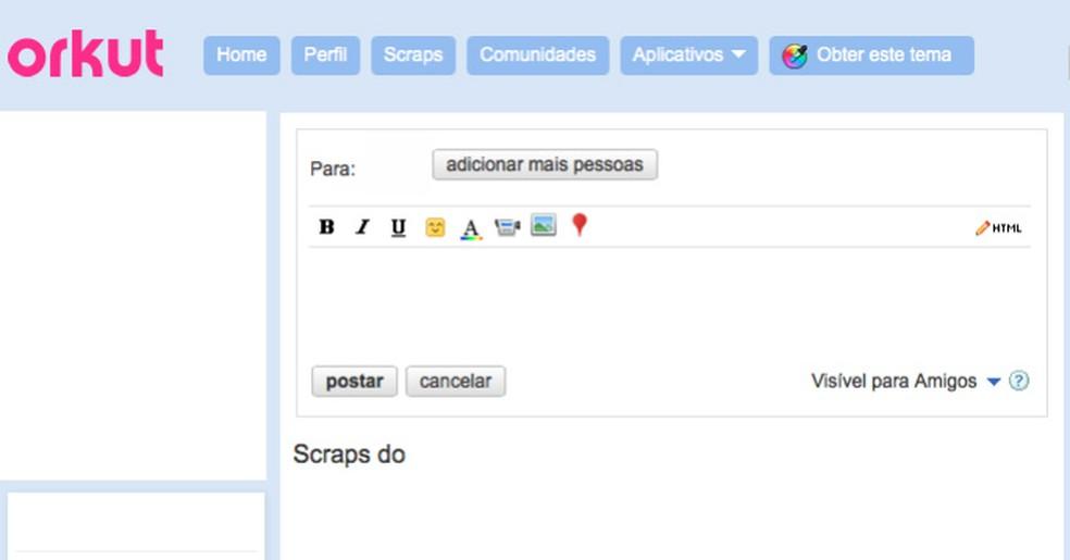 A página de scraps do Orkut — Foto: Reprodução/TechTudo