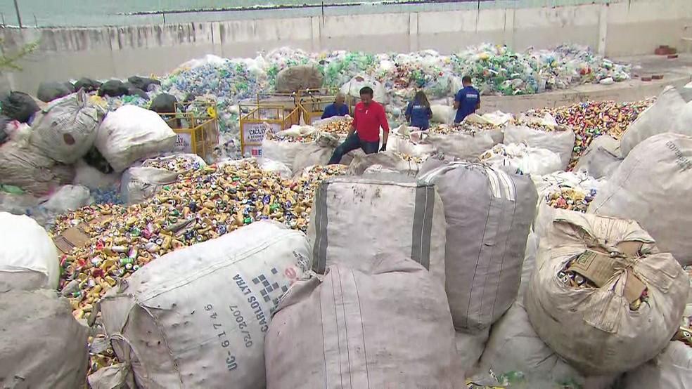 Catadores percorreram Olinda recolhendo latinhas e produtos recicláveis durante o carnaval (Foto: Reprodução/TV Globo)