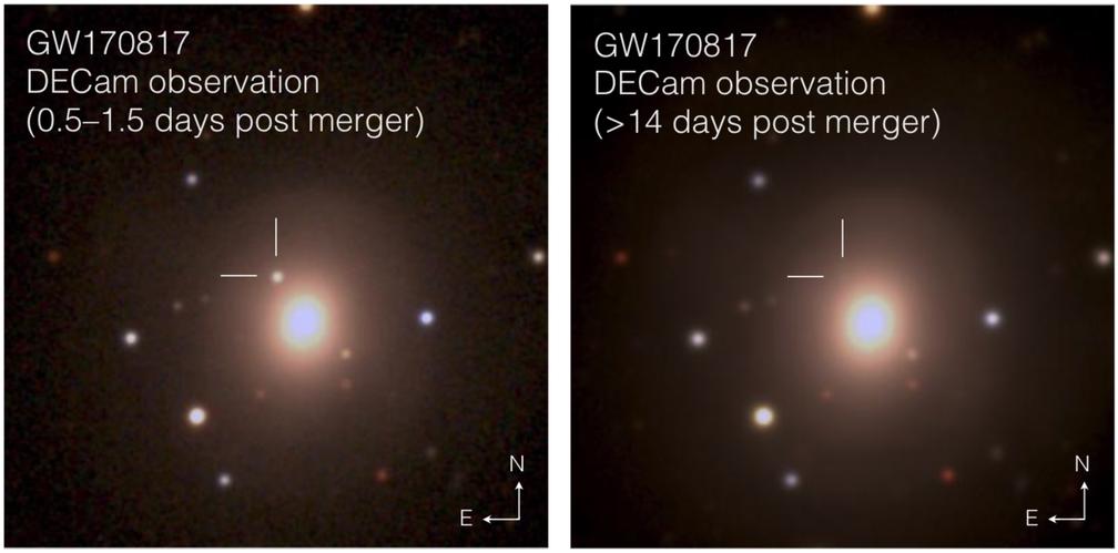 Imagens feitas em agosto, com um intervalo de duas semanas, mostram a colisão (Foto: Soares-Santos et al. and DES Collaboration)