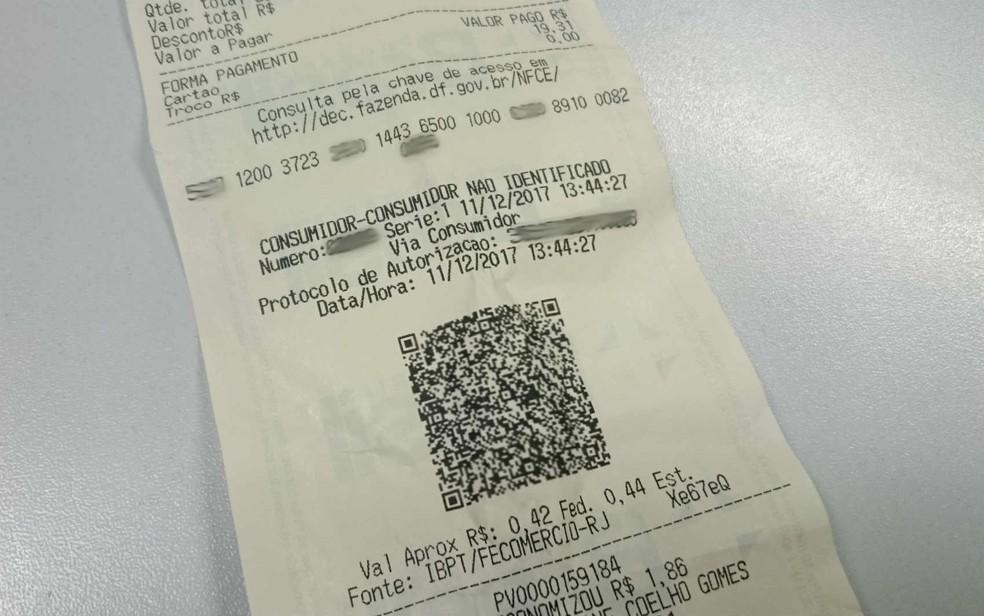 Nota eletrônica com QR code emitida por farmácia do DF (Foto: Mateus Rodrigues/G1)