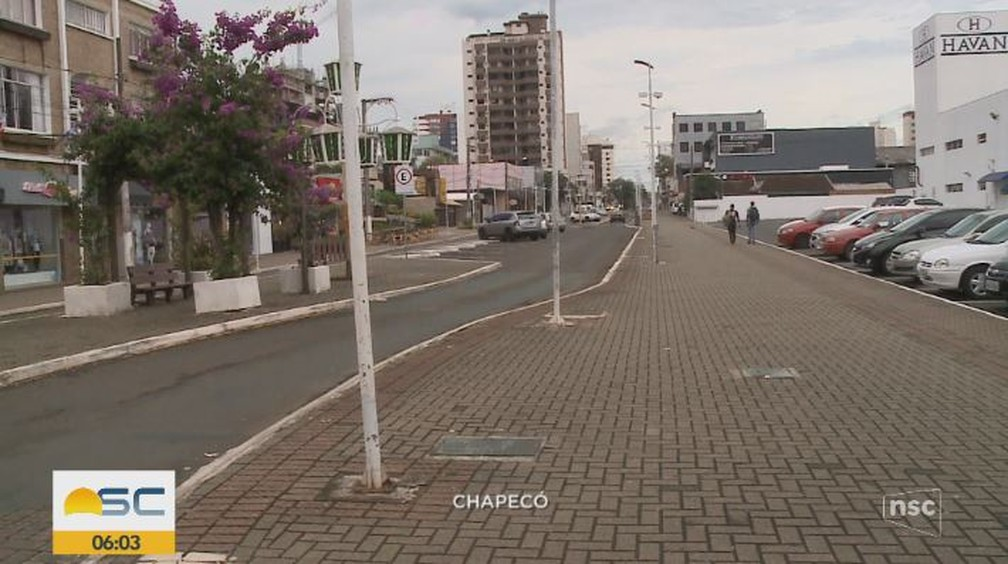 Amanhecer em Chapecó — Foto: Reprodução/ NSC TV