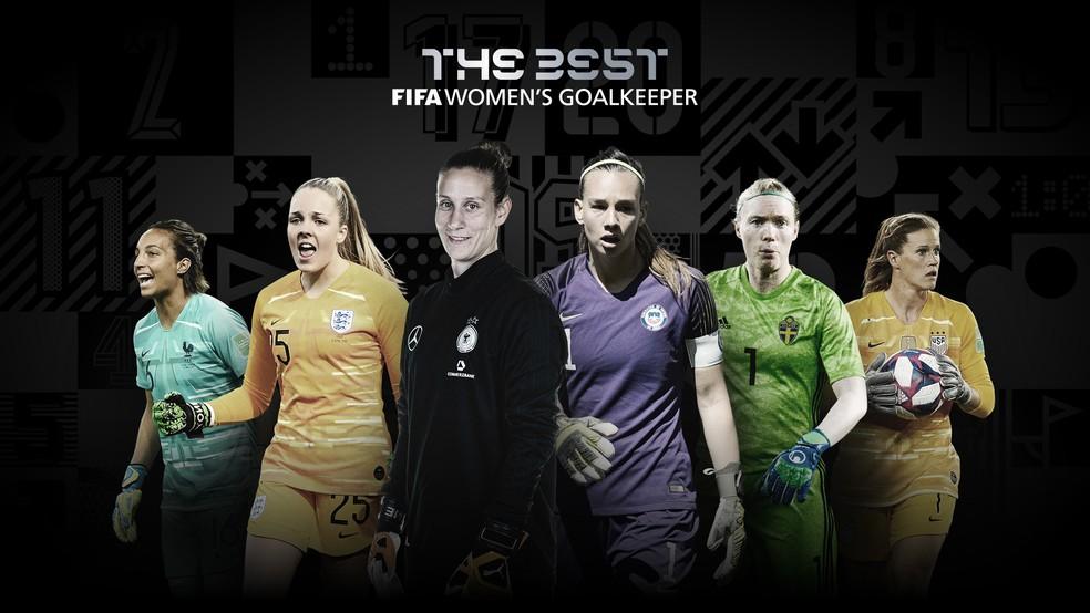 Bouhaddi, Roebuck, Berger, Endler, Lindahl e Naeher, as candidatas ao prêmio de melhor goleira no Fifa The Best 2020 — Foto: Reprodução