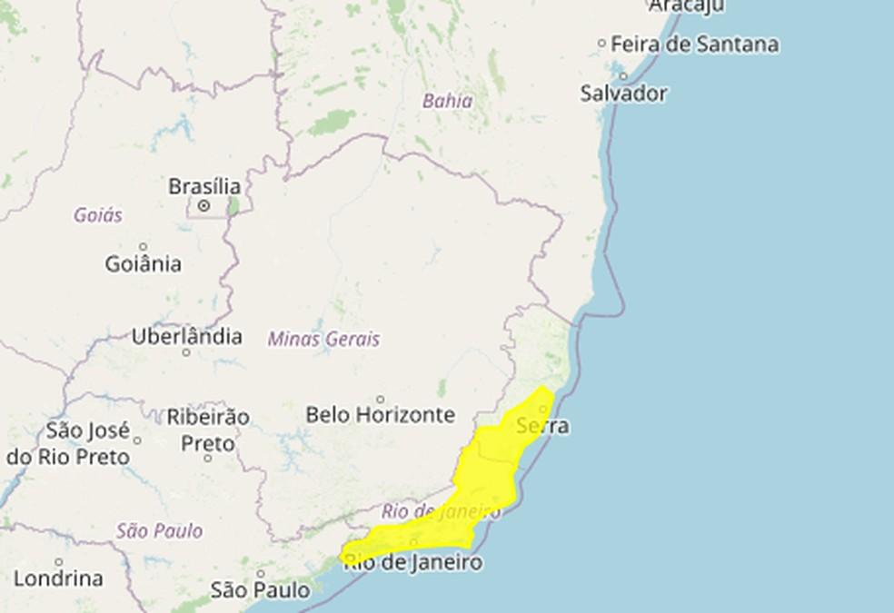 Aviso meteorológico para o Espírito Santo — Foto: Divulgação/Inmet