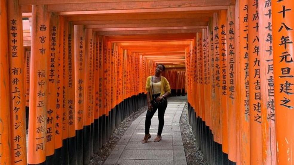 Danielle foi trabalhar como professora de inglês em uma escola primária em Ibaraki, província a 82 km de Tóquio — Foto: Arquivo pessoal/BBC