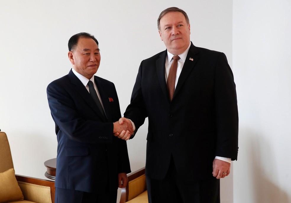 Representante norte-coreano, Kim Yong Chol, se encontrou com Secretado de Estado dos EUA, Mike Pompeo, em Nova York, nesta quinta-feira (31)   (Foto: Mike Segar/ Reuters)