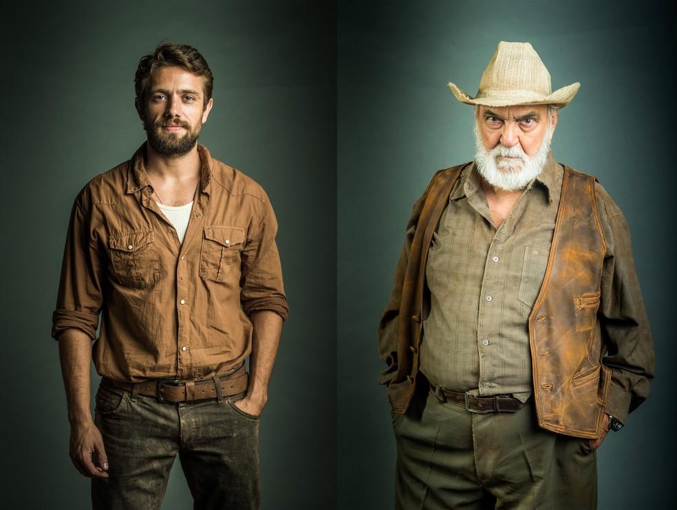 O médico Renato (Rafael Cardoso), tem um visual mais despojado e prático. O avô de Clara, Josafá (Lima Duarte) usa roupas campestres (Foto: TV Globo/Raquel Cunha)