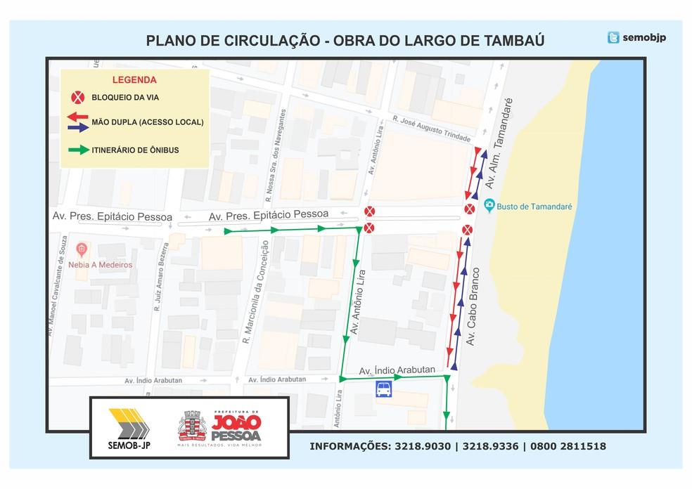 Mapa da Semob-JP orienta para mudanças no trânsito da Avenida Epitácio Pessoa — Foto: Semob-JP/Divulgação