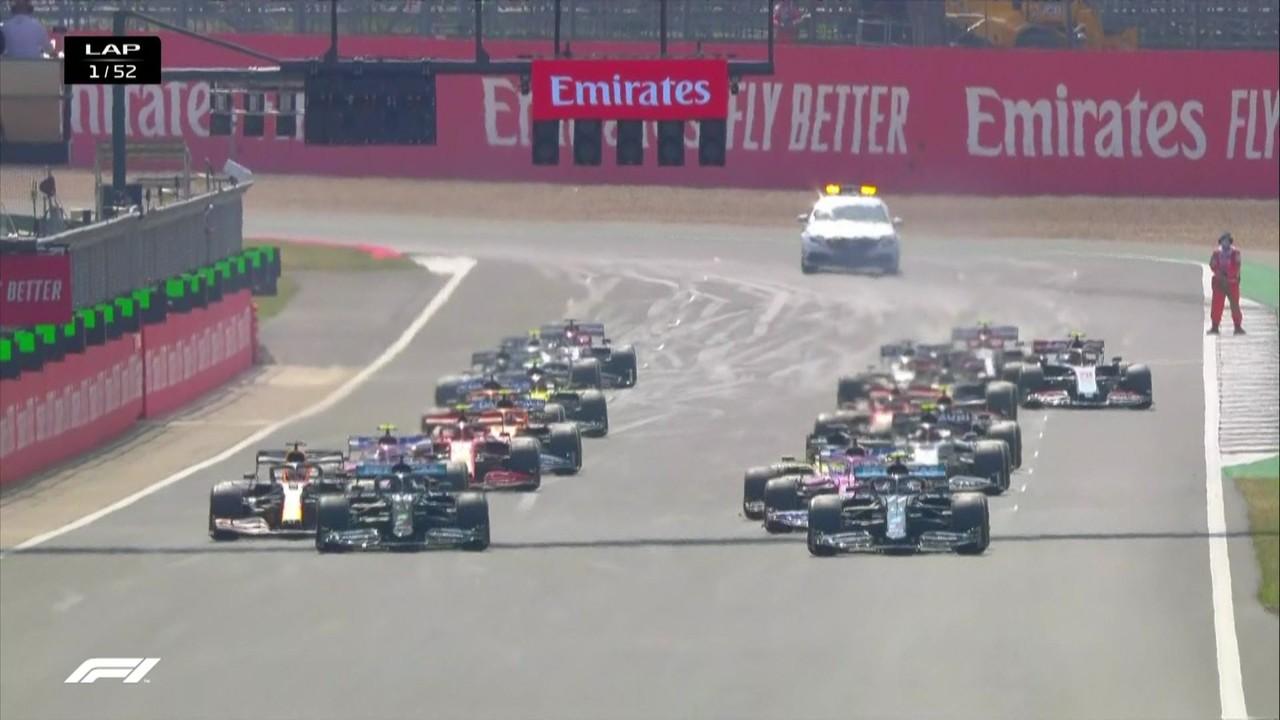 Veja a largada emocionante do GP de 70 anos da F1