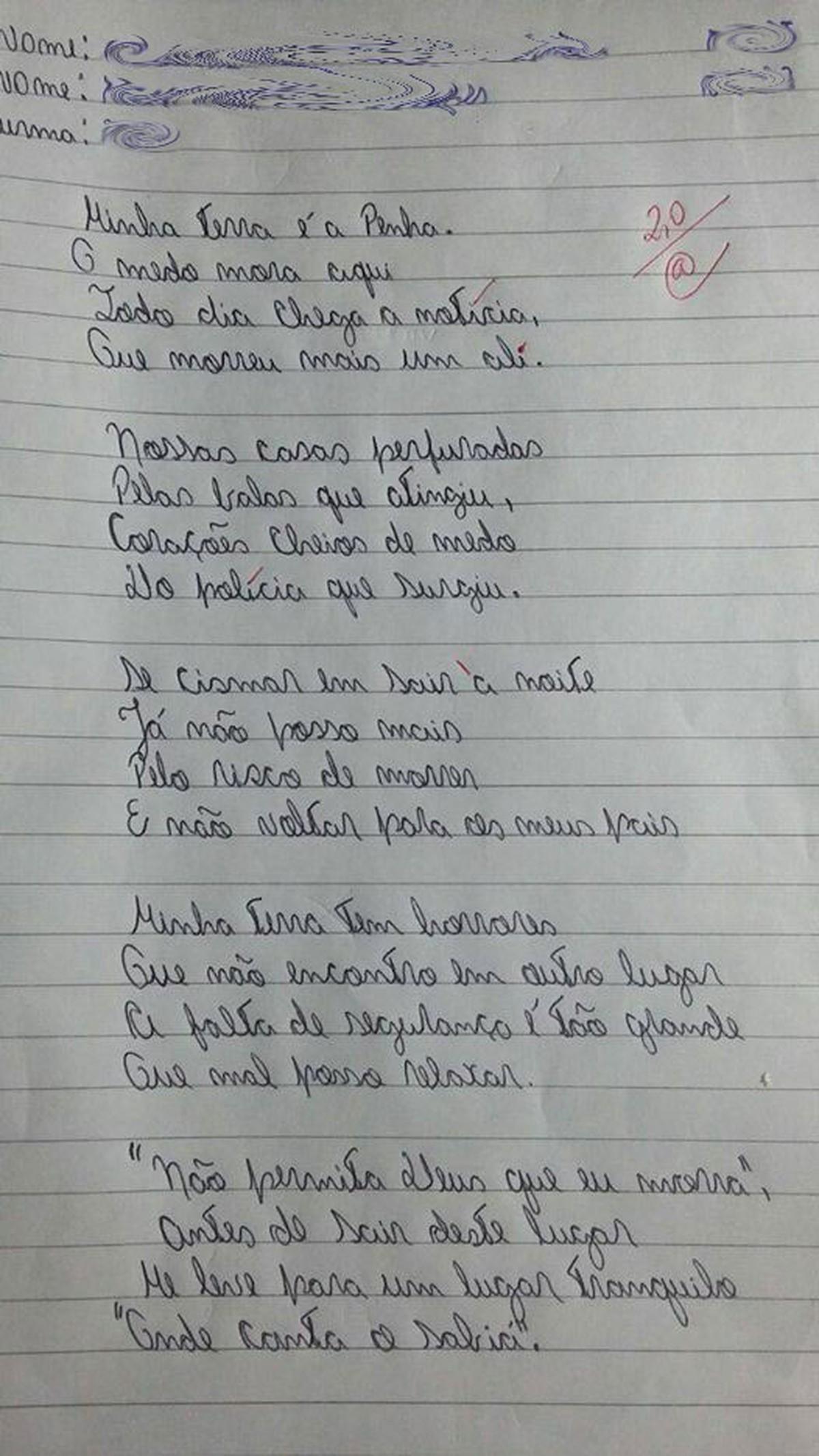 21f3e5a1f7  Minha terra tem horrores   versão de poema feita por alunos do Rio causa  comoção nas redes sociais