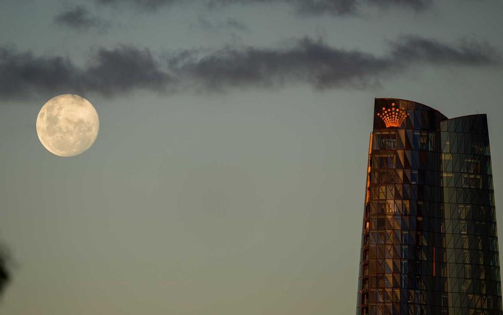 A lua nasce acima da Torre Barangaroo em Sydney — Foto: Mark Baker / AP Photo