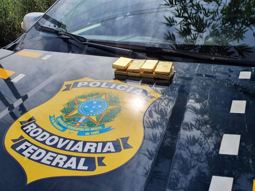 PRF apreendeu 5kg de ouro ilegal em Marabá, sudeste do Pará — Foto: Divulgação/Polícia Rodoviária Federal