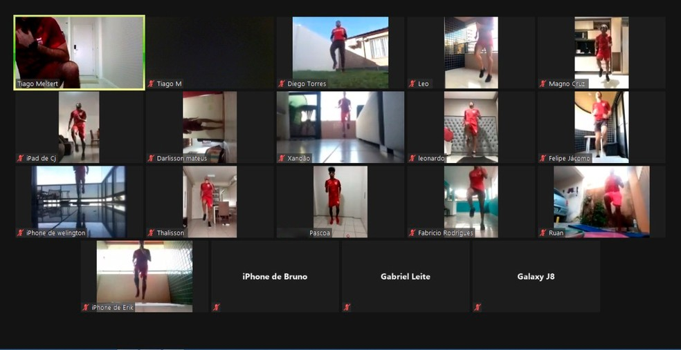 Jogadores fazem trabalho por videoconferência — Foto: Foto: Divulgação/CRB