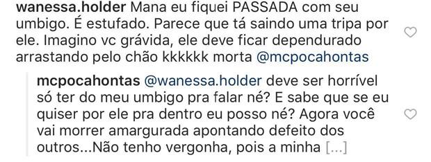 MC Pocahontas respondendo internauta no Instagram (Foto: Reprodução/Instagram)
