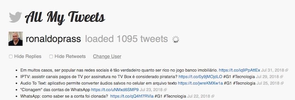 Tela 4 de passo a passo para apagar publicações no Twitter — Foto: Reprodução