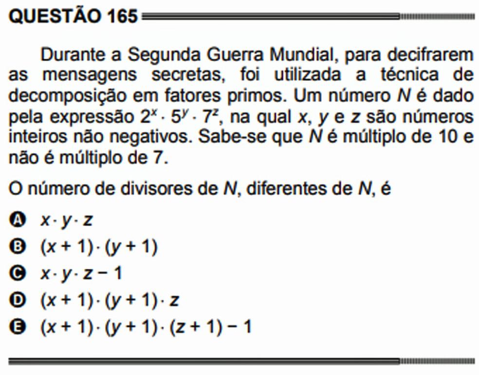 No Enem 2014, uma questão de matemática se inspirou na estratégia de russos, americanos, britânicos e alemães durante a Segunda Guerra Mundial para decifrarem mensagens secretas (Foto: Reprodução/Inep)