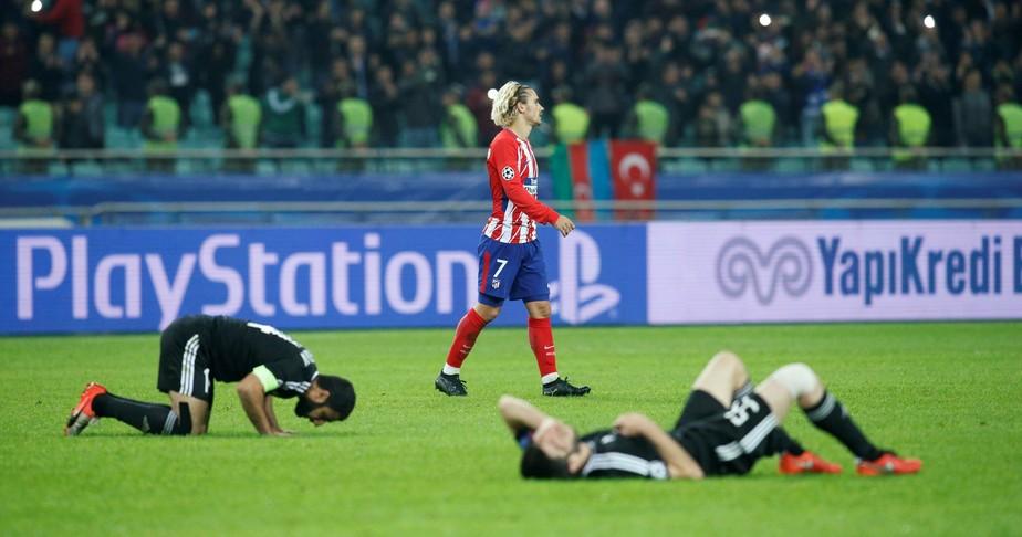 Atlético de Madrid tropeça no Azerbaijão e fica em situação perigosa na Champions