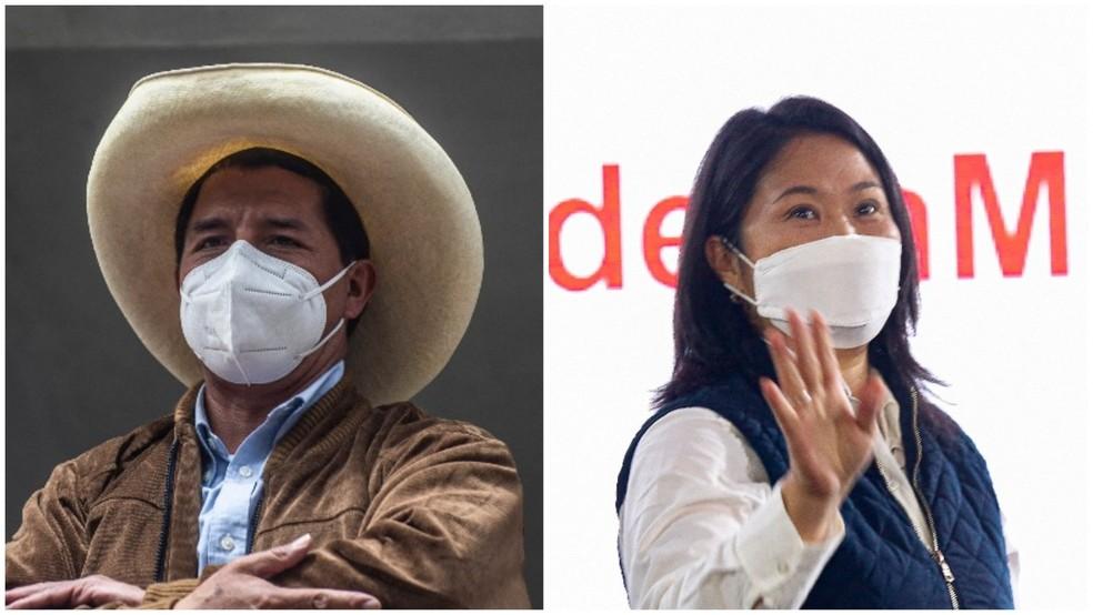 O esquerdista Pedro Castillo e a direitista Keiko Fujimori disputam o segundo turno da eleição presidencial no Peru — Foto: Ernesto Benevides/AFP e Gian Masko/AFP