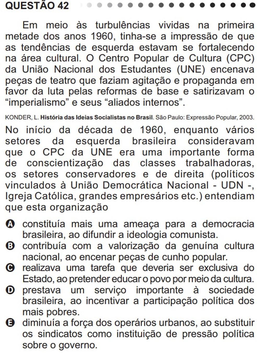No Enem 2011, uma questão abordou atividades da UNE no Brasil na década de 1960; a resposta correta é a alternativa A (Foto: Reprodução/Inep)