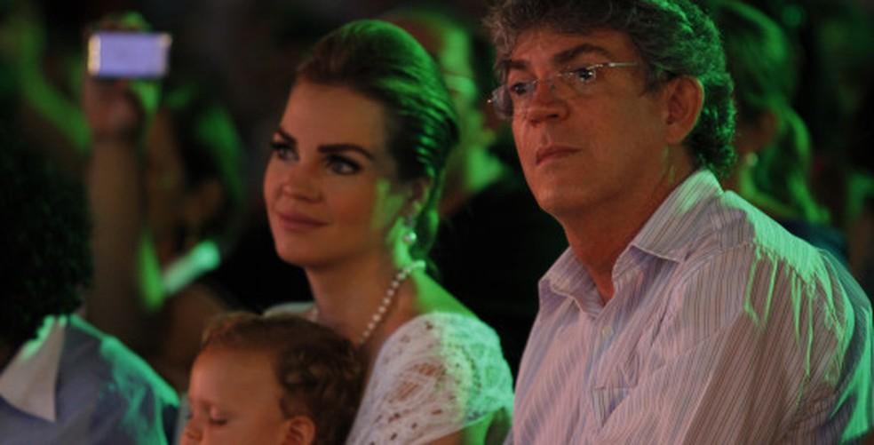 Pâmela Bório, ex-primeira dama, e Ricardo Coutinho, governador da Paraíba (Foto: Kleide Teixeira/Arquivo/Jornal da Paraíba)