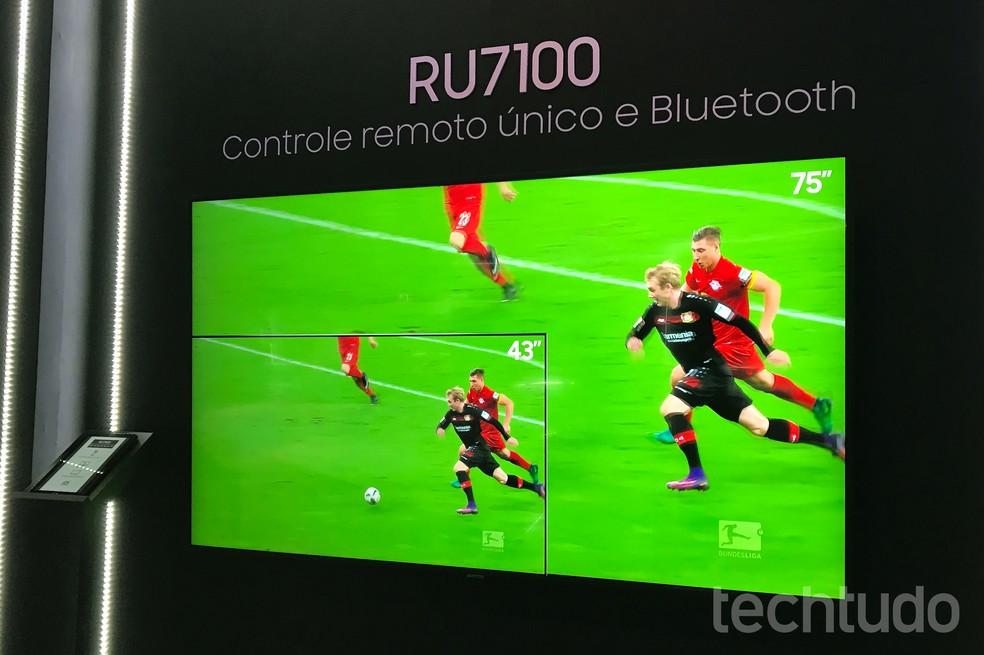 """Versão de 49"""" da linha RU7100 foi a TV mais buscada do mês — Foto: Luciana Maline/TechTudo"""