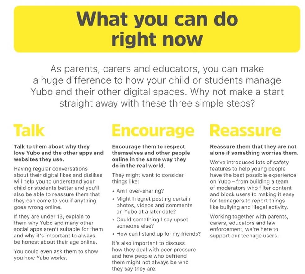 Parte do Guia para Pais do Yubo (Foto: Reprodução/Yubo Parents Guide)