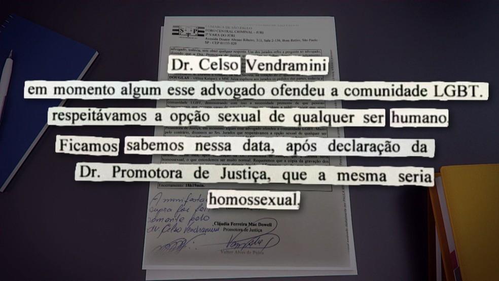 Advogado acusado pediu para citar na ata de audiência que não sabia da orientação sexual da promotora — Foto: TV Globo/reprodução