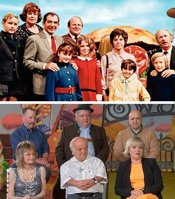 O elenco de 'A Fantástica Fábrica de Chocolate' em 1971 e hoje (Foto: Reprodução)