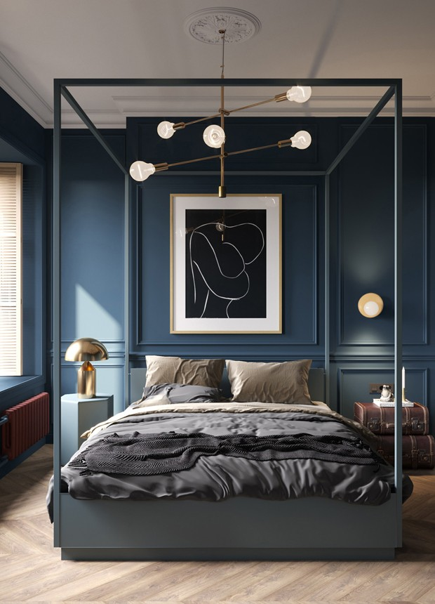 Décor do dia: quarto azul e cama com dossel (Foto: Cartelle Design/Divulgação)