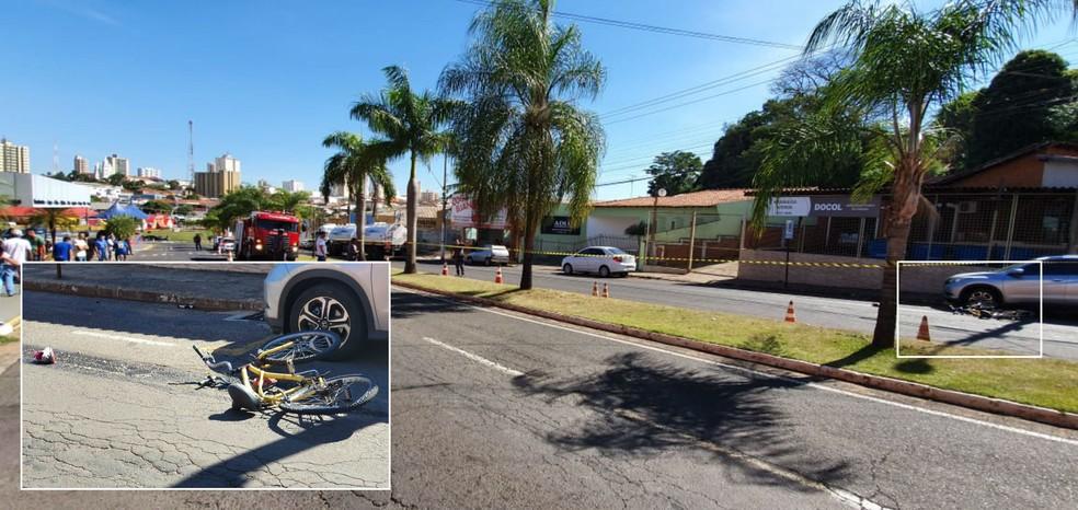 A bicicleta (no detalhe) ficou caída a cerca de 50 metros onde estava a carreta e o corpo da adolescente — Foto: NovaTV/Divulgação