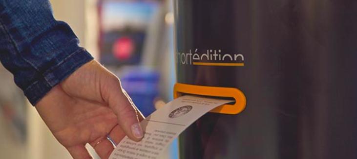A máquina funciona como um caixa automático... para contos literários (Foto: Reprodução/Vimeo)