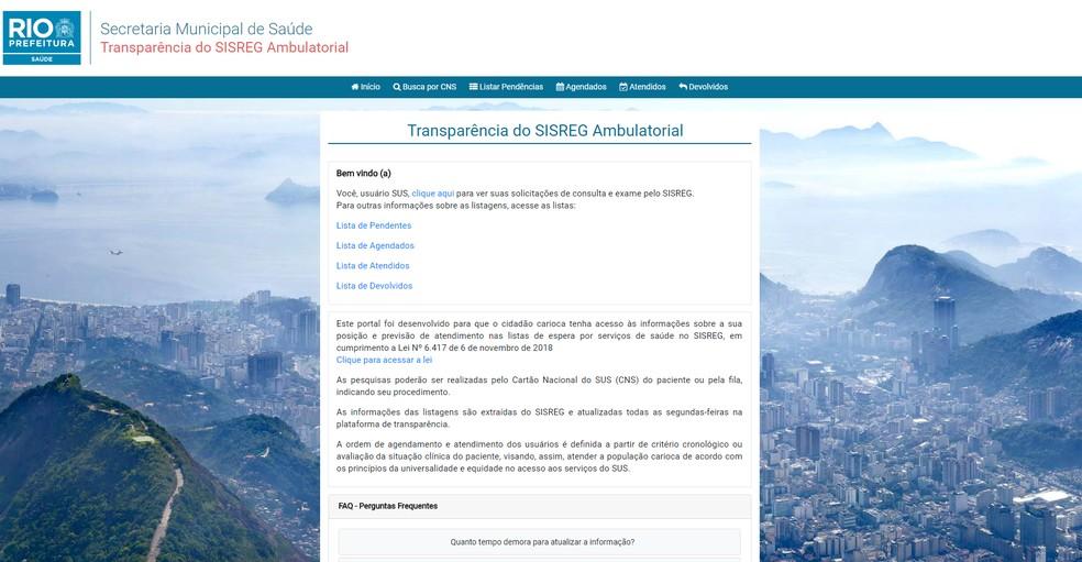 Reprodução do site do Sisreg do Rio — Foto: Prefeitura do Rio