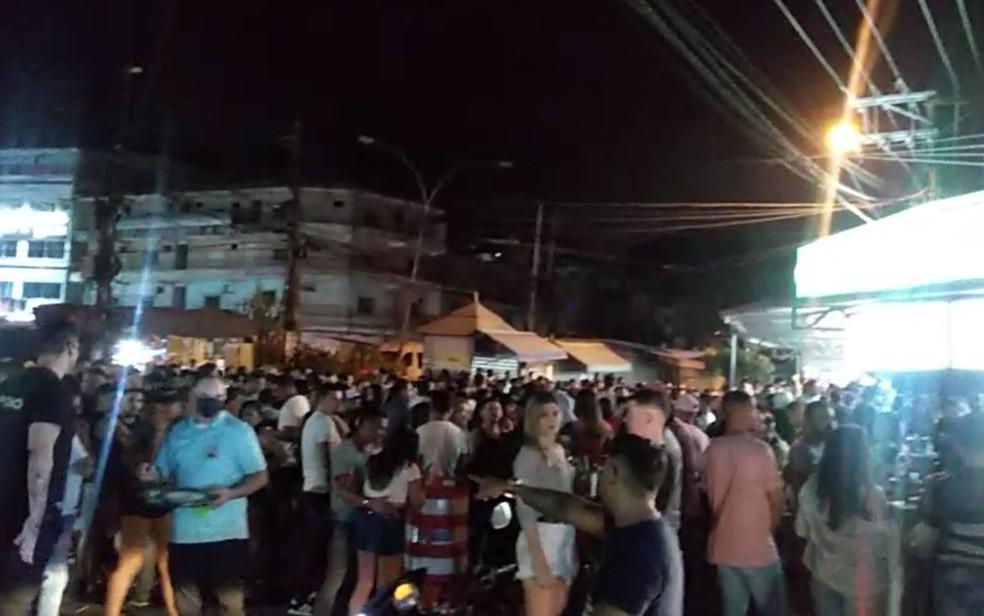 Choperia em Jacarepaguá ficou lotada na noite deste sábado (15) — Foto: Reprodução